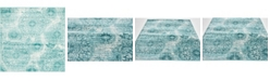 Bridgeport Home Basha Bas7 Turquoise 6' x 6' Square Area Rug